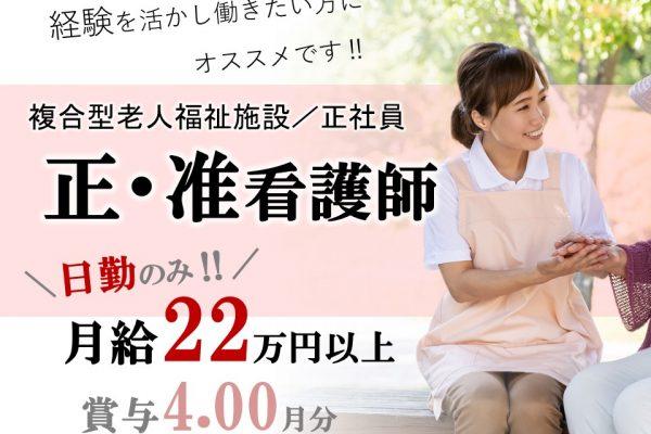 主婦活躍の日勤 月20万以上 賞与4ヶ月の複合型施設 正准看護師 イメージ
